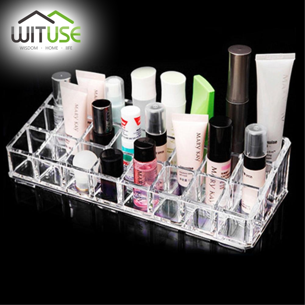 WITUSE Hot New Acrylic Makeup Organizer cosmetic make up clear acrylic organiser brushes lipstick holders storage box EQC347