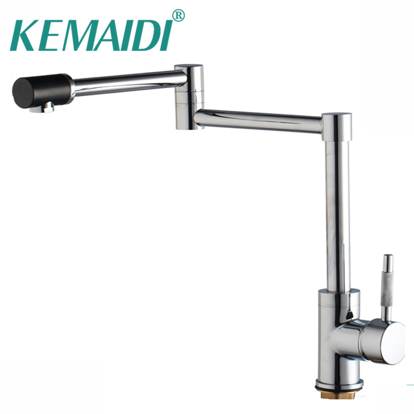 KEMAIDI 360 Swivel Waterfall New Brass Chrome And Nickel Brushed Mixer Water Tap Kitchen Sinks Faucet Bathroom Swivel Faucet