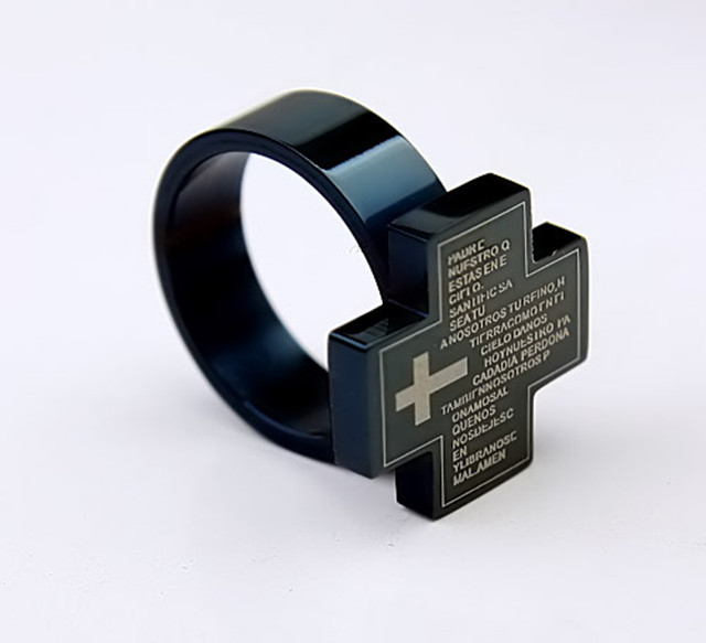 free shipping Squre black Sliver cross gods words 316L stainless steel jewelry rings mens rings mens jewelry fine steel rings