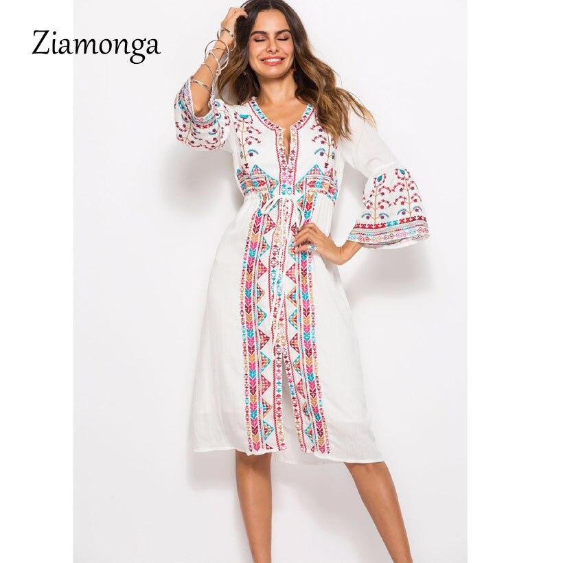 Boho Vintage Casual Abbigliamento Hippie Marchio Floreale Di White Elegante Ziamonga Bianco Vestito Lungo Ricamo Abiti Donne 2018 Maxi qwaP5X8nS