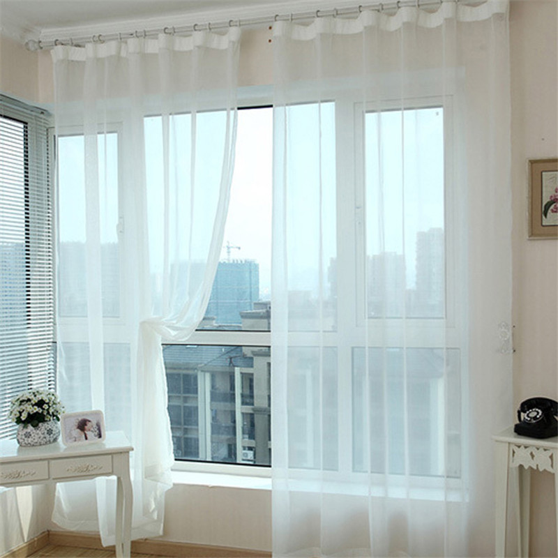1 Pair White Translucidus Tulle Window Screening Sheer Voile Gauze Curtain For Cafe Bedroom