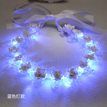 Romantic Ceramic Flower Crystal Beads Headbands for Women Wedding Crown Handmade Bridal Tiara with LED Light Luminous Garland(China)