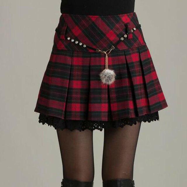 2017 nueva Sexy Mini falda de cintura alta Vintage plisada a cuadros Faldas  Mujer Otoño Invierno bd3c8fb53f97