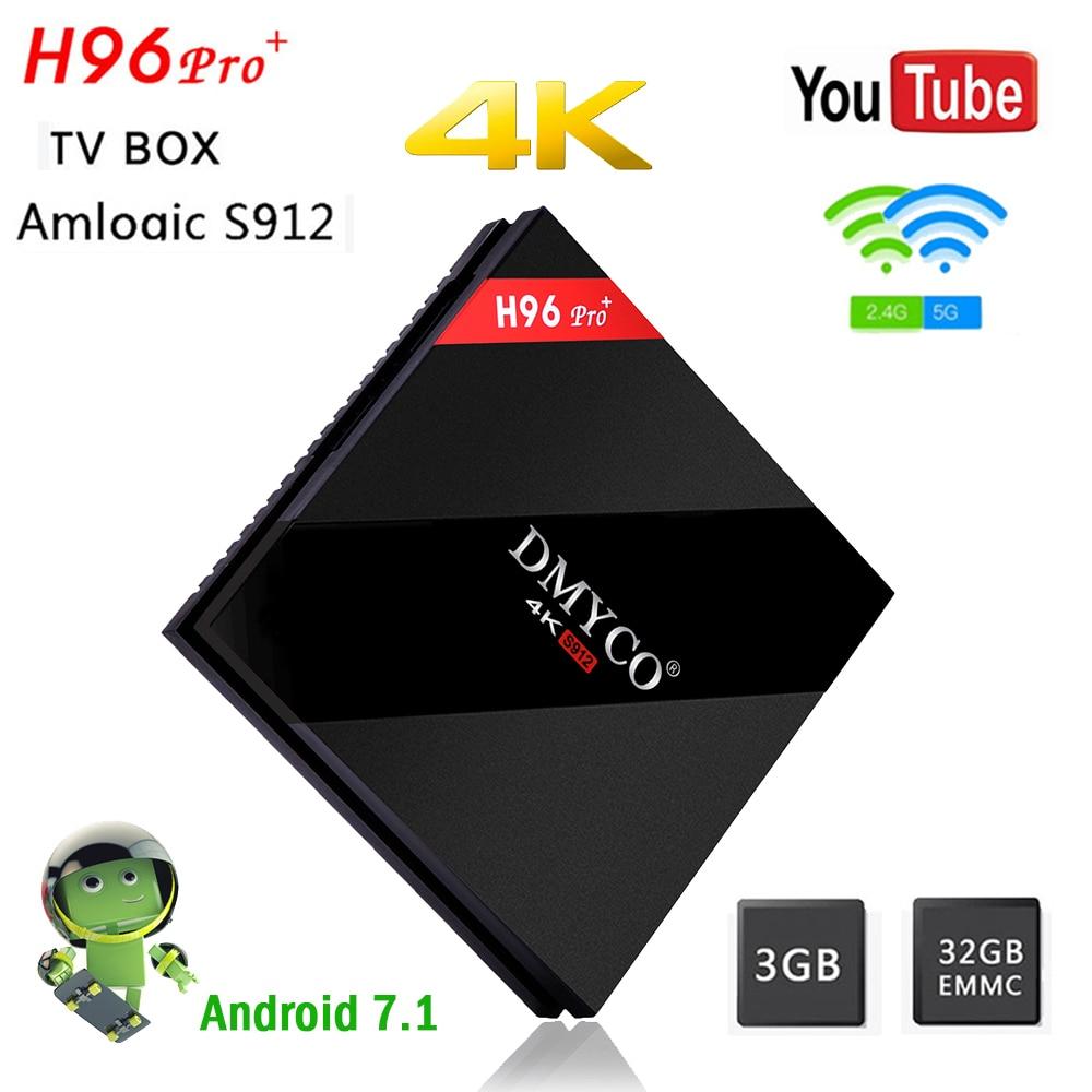 Android 7 1 H96 Pro Plus+ TV Box Amlogic S912 64bit Smart TV Box Octa Core  3G RAM+32G ROM Bluetooth