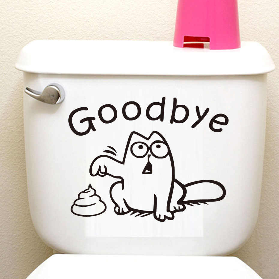 Wall Sticker Toilet Bathroom Waterproof Decorative Vinyl Wall Decal Funny Cat Toilet Seat Wall Decal Goodbye Potbellied Stickers