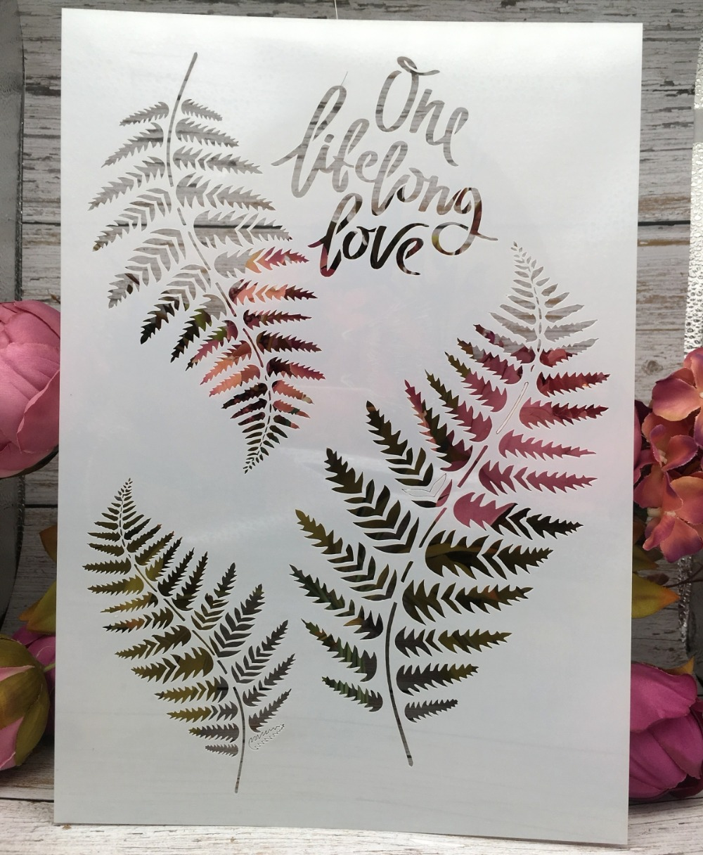 29*21cm New Leaves Words DIY Layering Stencils Wall Painting Scrapbook Coloring Embossing Album Decorative Paper Card Template