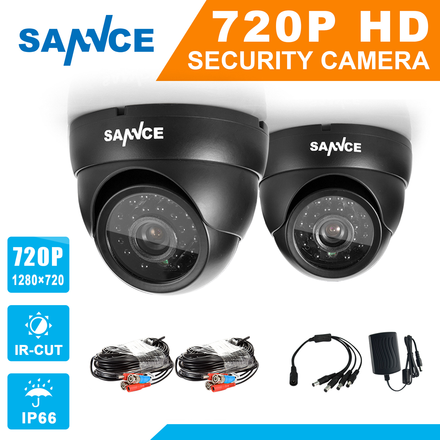 SANNCE AHD 720P 2PCS 1200TVL Dome CCTV Camera Suite 1.0MP Waterproof IR-Cut Night Vision Camera For Surveillance System Kit BC 4 in 1 ir high speed dome camera ahd tvi cvi cvbs 1080p output ir night vision 150m ptz dome camera with wiper