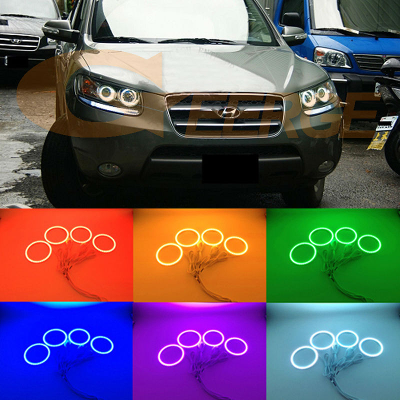 For Hyundai Santa Fe santafe 2007 2008 2009 2010 2011 2012 Excellent RGB LED Angel Eyes kit Multi-Color Ultra bright Halo Rings