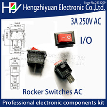 Hzy 10pcs/lot 10*15mm RED SPST 2PIN ON/OFF Boat Rocker Switch AC 3A/250V Car Dash Dashboard Truck RV ATV Home Rocker Switches AC spst snap in mini boat rocker switch ac 250v 3a 125v 6a 2 pin on off 10 15mm