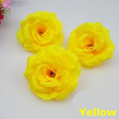 New10pcslot 8cm Yellow Color Artificial Rose Silk Flower Heads Diy