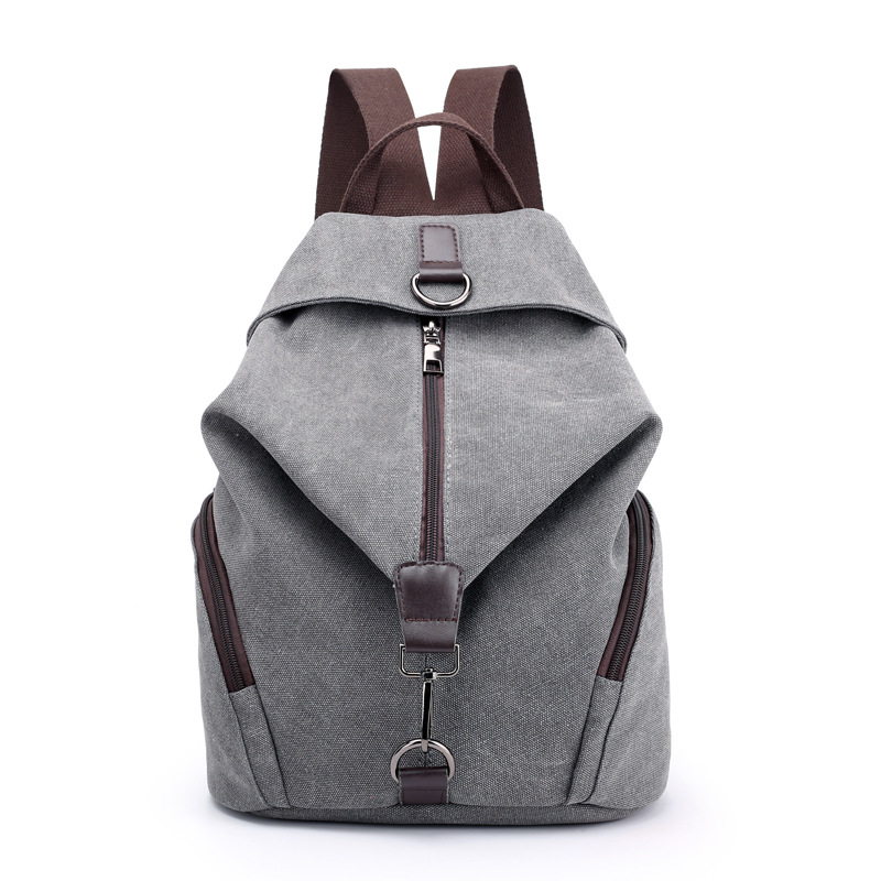 Fashion Casual Canvas Women Backpack Solid Large Capacity Female Backpacks Brand Designer Zipper Travel Bag Girl School Backpack