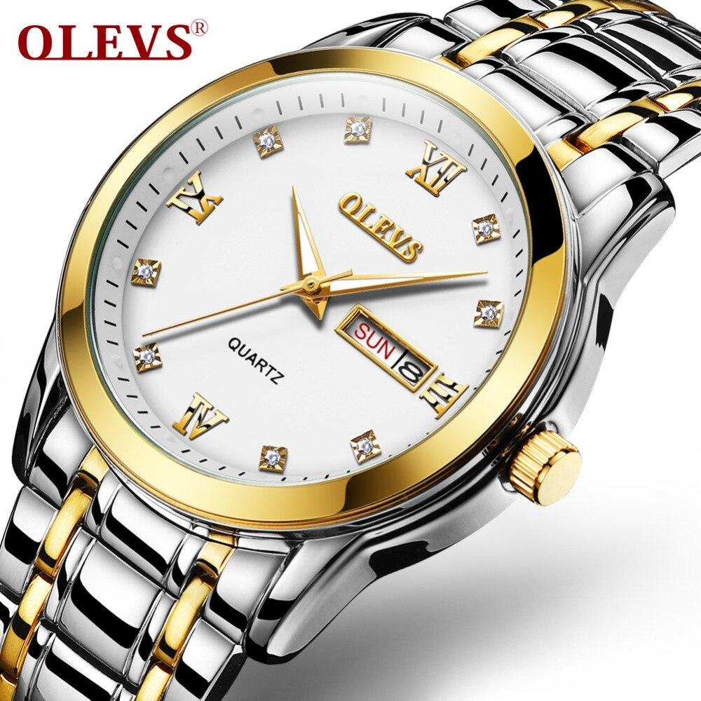 OLEVS Relogio Masculino Men Watch Luxury Watches 3ATM Waterproof Clock Roman numerals Wristwatch Stainless Steel Date Watches