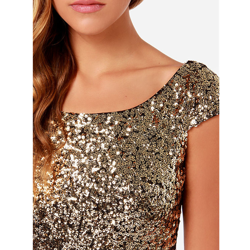 2d11deb54a5e Qidaeal L 2017 Summer Casual Dress Gold Sequins Dress Women V Backless Sexy  Dresses Women Clothing New Fashion Vestidos-in Dresses from Women s Clothing  on ...