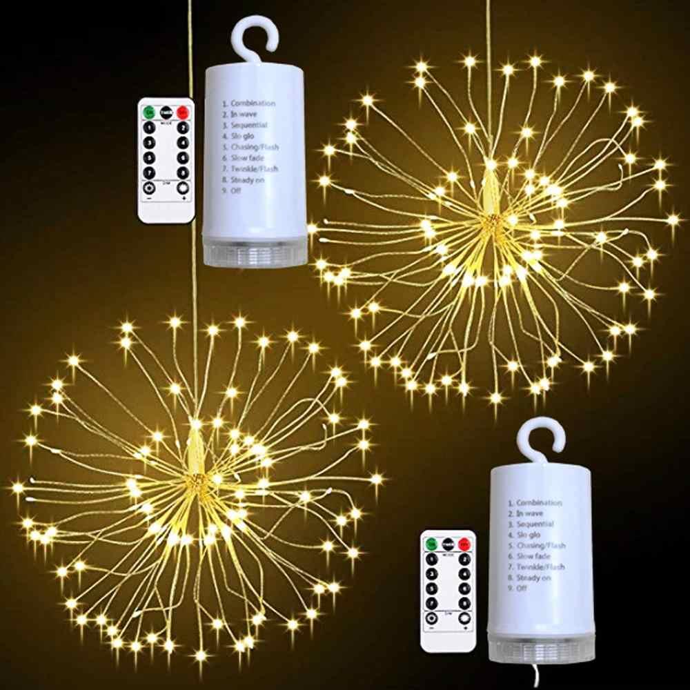 Wiszącej gwiazdy fajerwerki światła, 120 LED fajerwerki Starburst mniszka lekarskiego lampki zasilanie bateryjne girlanda żarówkowa, 2/1 paczka