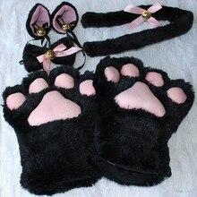 Хит, 1 комплект, плюшевые хлопковые перчатки с кошачьими ушками и лапой, хвостовая лента, аниме костюмы для косплея, 4 цвета, перчатки