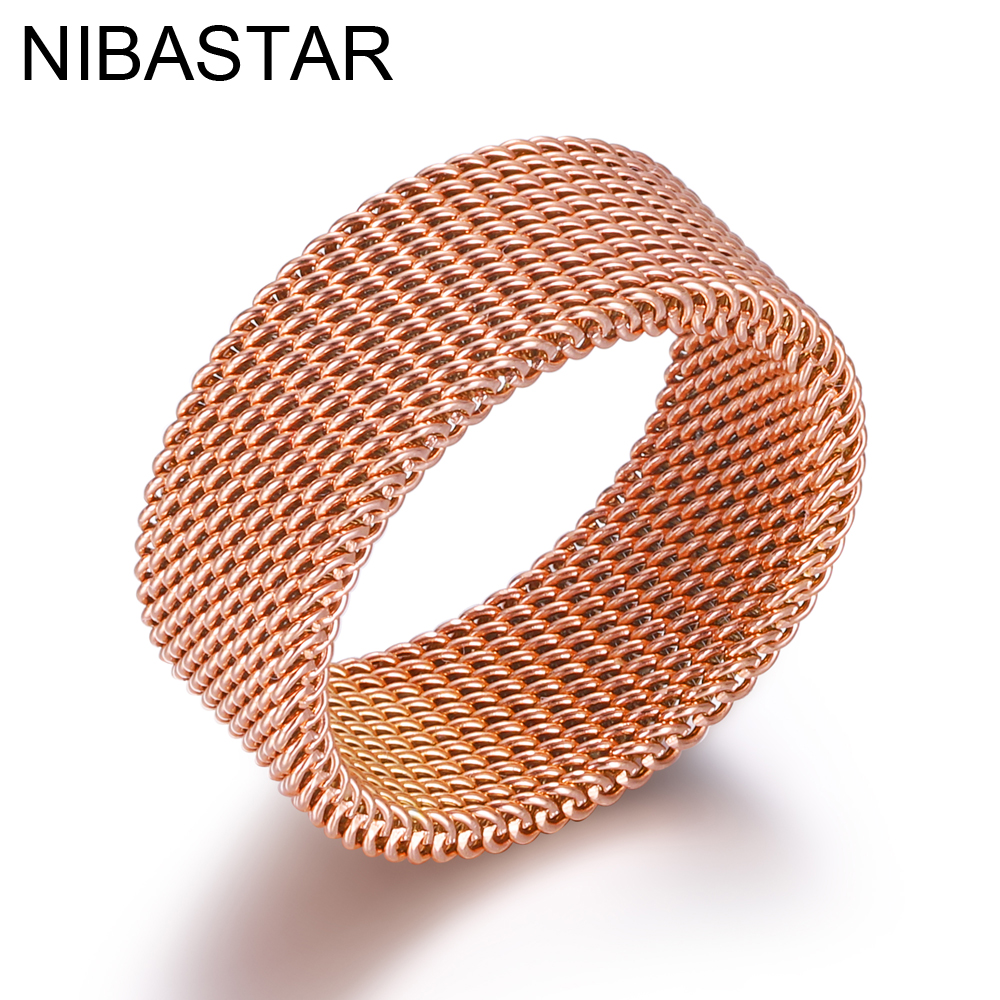 Hot New Style Mesh Rings For Women Rose Gold Stainless Steel Rings For Christmas Gift For Women Or Men