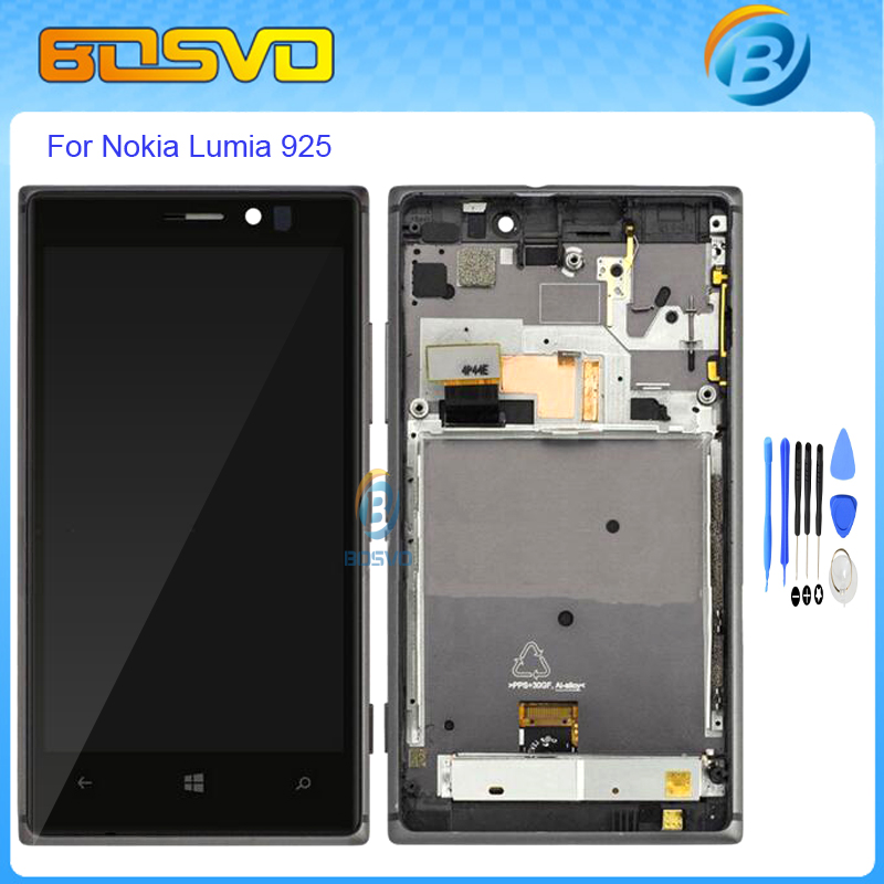 High quality Replacement for Nokia lumia 925 lcd display with touch screen digitizer with frame assembly+free tools black color aaa quality replacement for nokia lumia 920 lcd display with touch screen digitizer assembly with frame free shipping