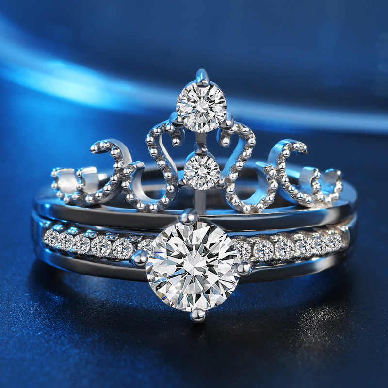 Classic Genuine 925 Sterling-Silver Jewelry Rings Set Wedding Claddag Crown Peridot Ring CZ Sterling Bague Femme Anillos Mujer
