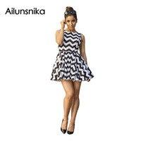 Ailunsnika 2017 Summer Women Sexy Fashion Cute Sleeveless Black White Wave Striped Nightclub Mini Pleated A