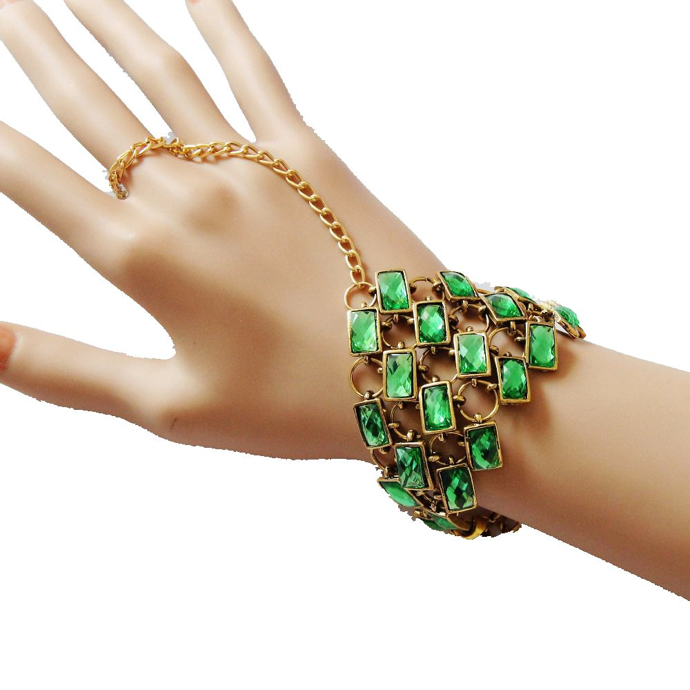 CirGen,Fashion women Bohemia vintage Green Resin Triangle Harness Bangle bracelet With Chain Finger Jewelry Item D25