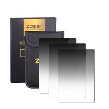 Zomei 3 em 1 gradiente cinza graduado nd 100*150mm quadrado nd16 nd4 filtro densidade neutra para cokin z lee titular série