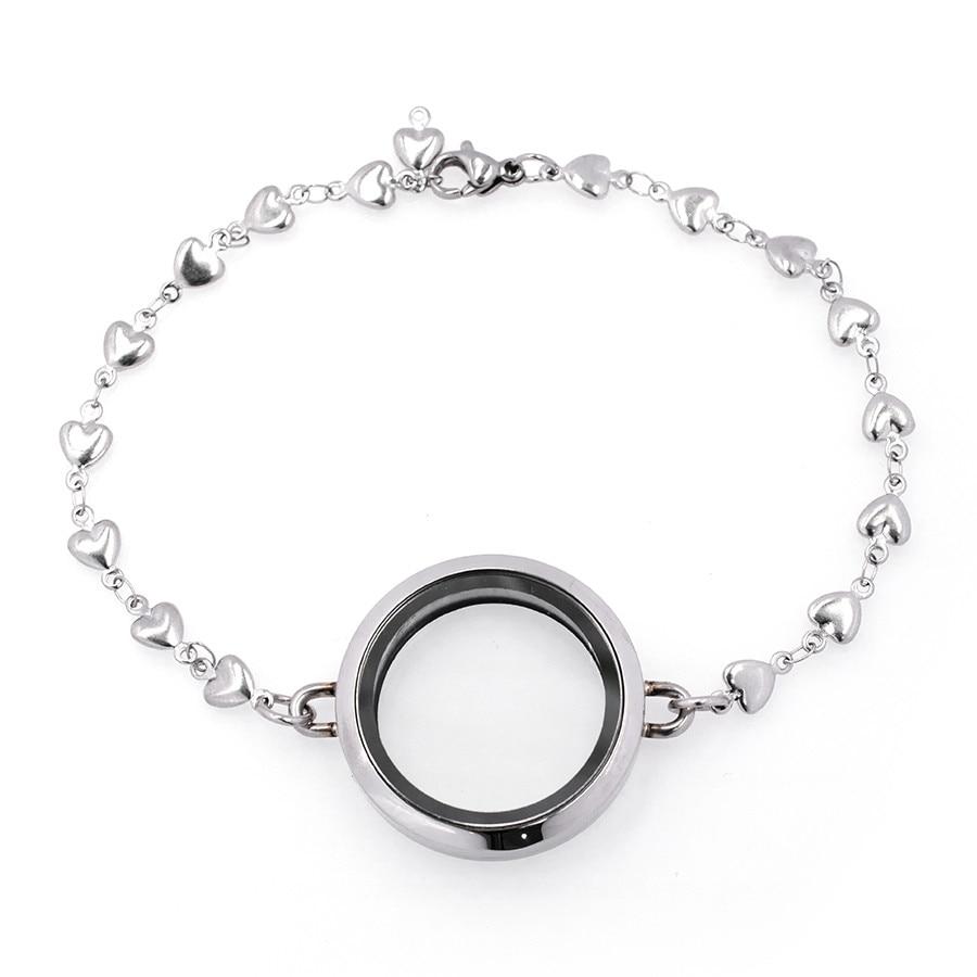 30mm Silver Plain Round Living Memory Locket Bracelet For Floating Charms
