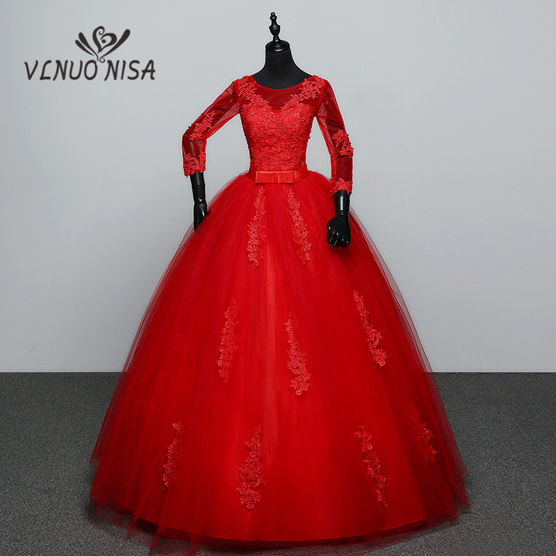 Hot Sale 2018 Vintage Lace Three Quarter Sleeve Red Wedding Dresses Plus Size Ball Gown Robe De Mariee Cheap With Bow Appliques