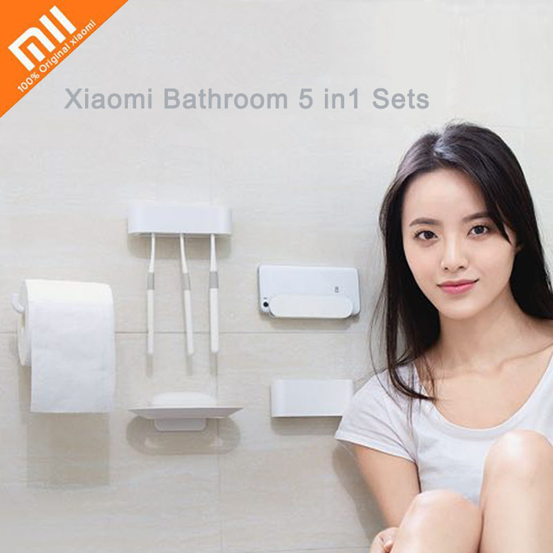 Xiaomi Mijia HL Bathroom 5 in1 Sets Soap Hook Toilet Roll Phone Holder Storage Box Tooth Hook Shower Room Accessories Tools Home