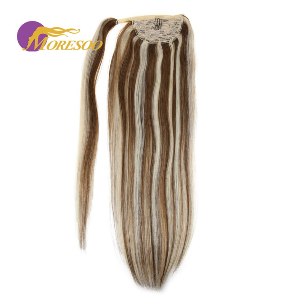 Moresoo Wrap Around Human Hair Ponytail Remy Brazilian Hair #P6/60 Brown With Blonde Straight Clip In Hairpieces 100g 16-24 Inch