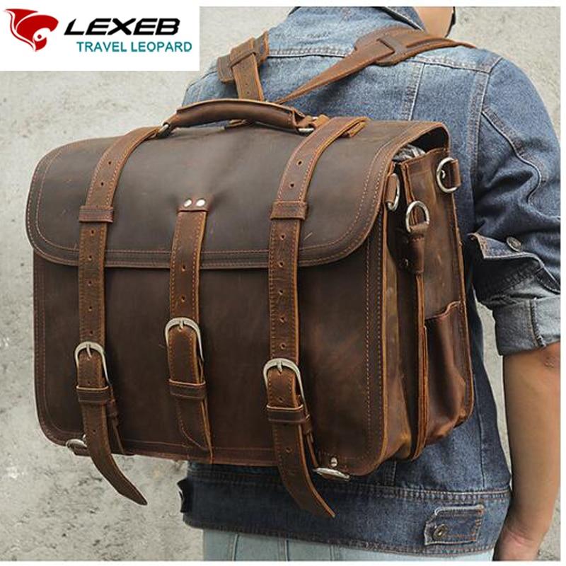 Men/'s  Leather Briefcase Long Messenger Satchel Shoulder Vintage Leather Bag