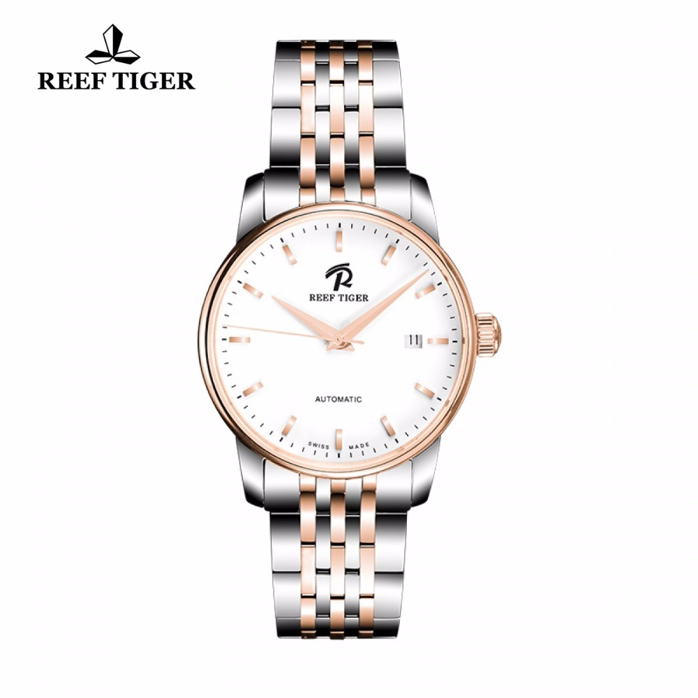 Reef Tiger/RT Simple Business Casual Watches Rose Gold Steel Watches Famous Brand Logo Automatic Watch with Date RGA810 reef tiger rt new design fashion business mens watches with four hands and date automatic watch rose gold steel watches rga165