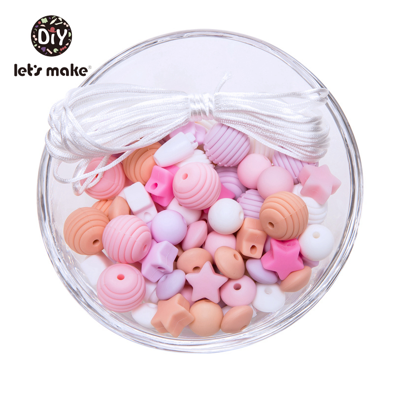 Image 5 - Silicone Beads 100pcs Screw Thread Carved Shaped Silicone Teether Beads Mini Star DIY Nursing Jewelry Accessories Beads Set-in Baby Teethers from Mother & Kids