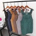 2017 Mulheres Primavera Harajuku Coréia Faculdade Vento Restaurar Antigas Formas de Veludo Suspensórios Bolso Grande Reta Vestidos de Colete