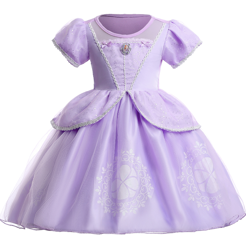 New Year Girl Birthday Party Princess Dress Cartoon Sofia Princess Cosplay Performance Dresses Girls Halloween Costume Clothes 2017 girl princess dresses children clothing high quality sofia princess cosplay costume kid s party dress baby girls clothes