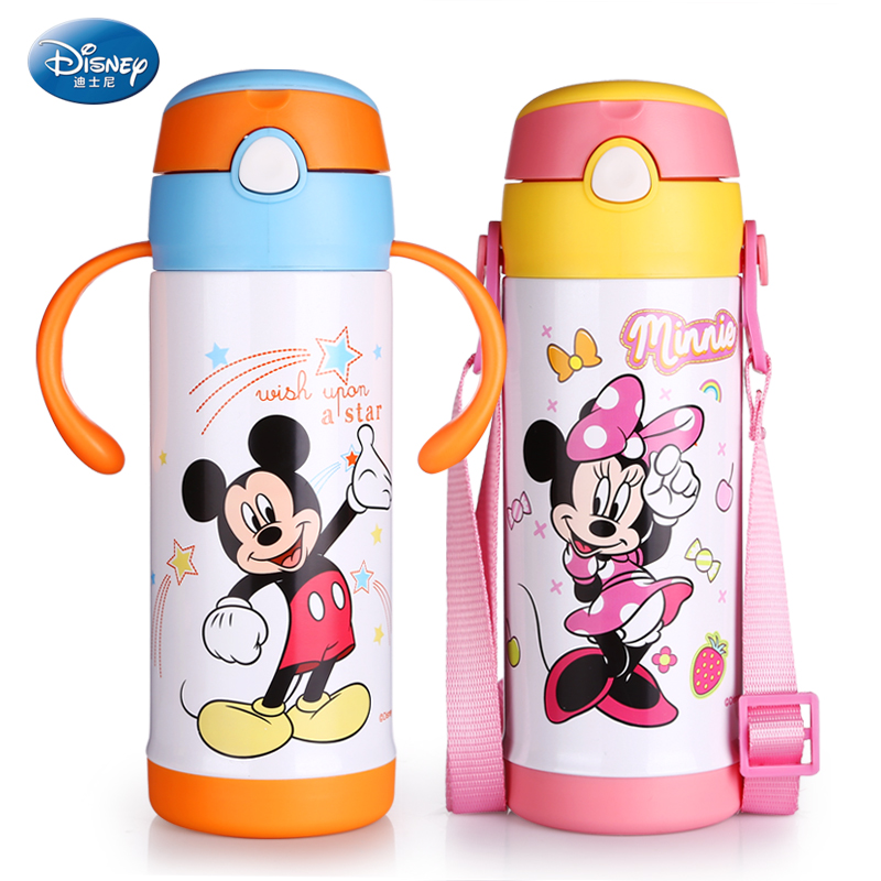 Disney children Cup baby baby Straw Mug Cup with handle leakproof cup child kettle