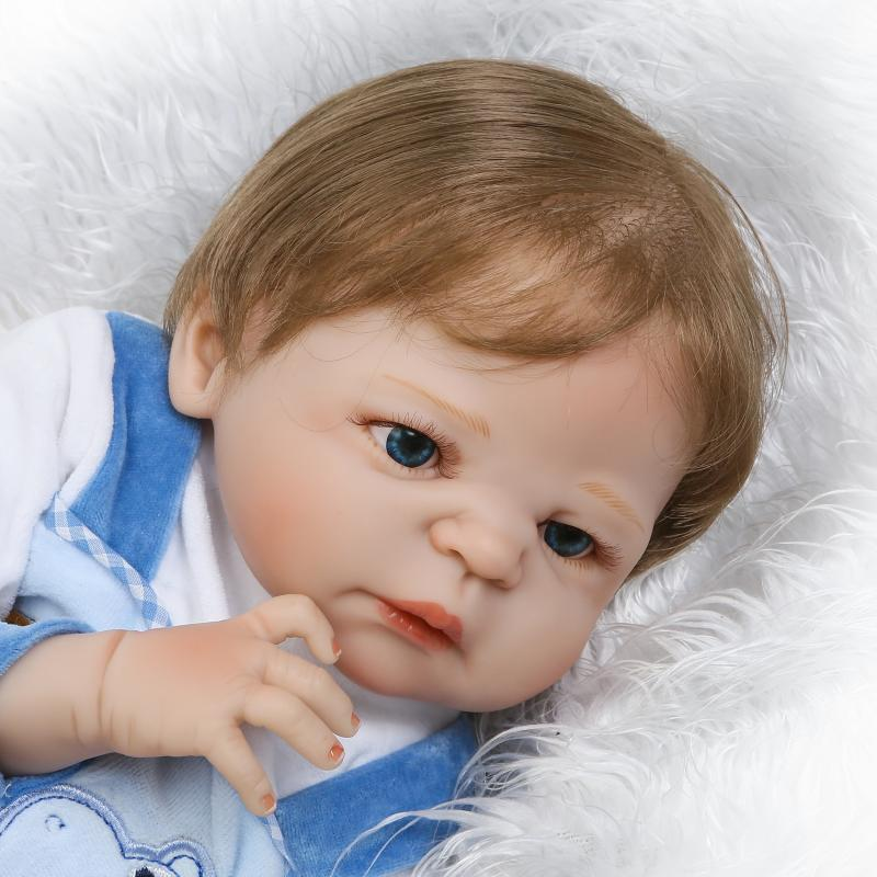 Real Lifelike Reborn Baby Doll 23 Inch Full Silicone Boy Vinyl Newborn Babies Fiber Hair Brinquedo do Bebe Kids Birthday Gifts christmas gifts in europe and america early education full body silicone doll reborn babies brinquedo lifelike rb16 11h10