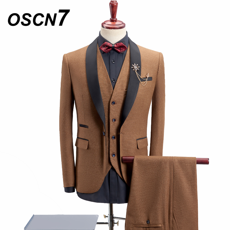 OSCN7 Mariage 3 pcs Costume Hommes 8 Couleur Châle Revers Mode 2018 Nouveau Terno Masculino Grande Taille 4XL Smoking Décontracté costumes pour hommes