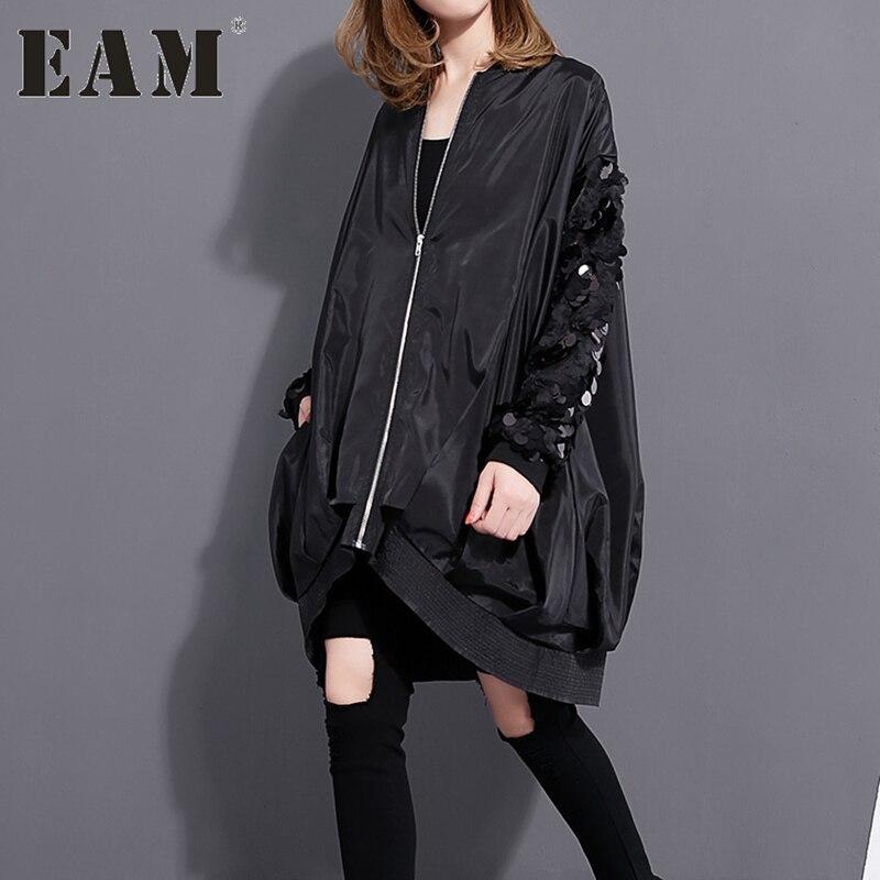 [EAM] 2017 Зимняя мода новый блестками воротник пальто с длинными рукавами свободные большие размеры жакет на молнии 1023A1
