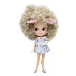 ICY DBS lalki Blyth biała skóra wspólne body BL3167 srebrny szary little curl włosy Afro 1/6 bjd zabawki prezent