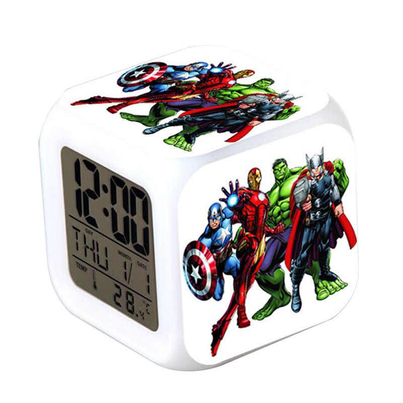 Iron man/capitán América/Thor relojes digitales reloj Marvel los Vengadores reloj despertador LED luz nocturna reloj despertador