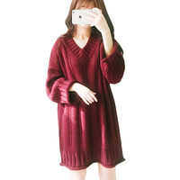 Sweater Dress Red Knitted Dress Winter Dresses Women 2018 Korean Vestidos V Neck Christmas Clothes Vintage Robe Pull Long Sleeve