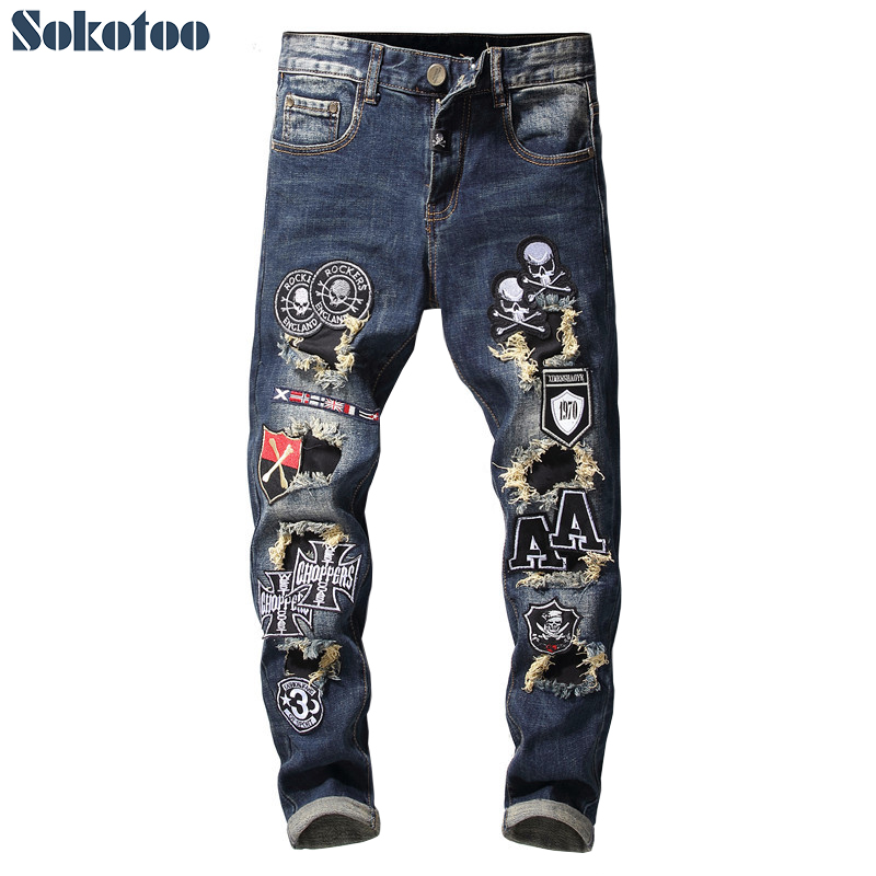 Sokotoo Men's patchwork skull flags patches design stretch   jeans   Trendy embroidered tapered denim pants
