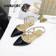 Купить с кэшбэком Wellwalk Brand Shoes Women Sandals Rivets Jerry Shoes Fashion Flat Sandals Cross Strap Rivets Shoes Elegant Sandals Female Flats