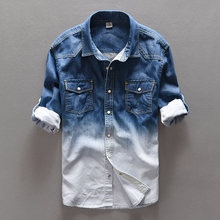 Spring New Brand Mens Gradient Denim Shirts Male 100 Cotton Long Sleeved Fashion Slim Fit Jeans
