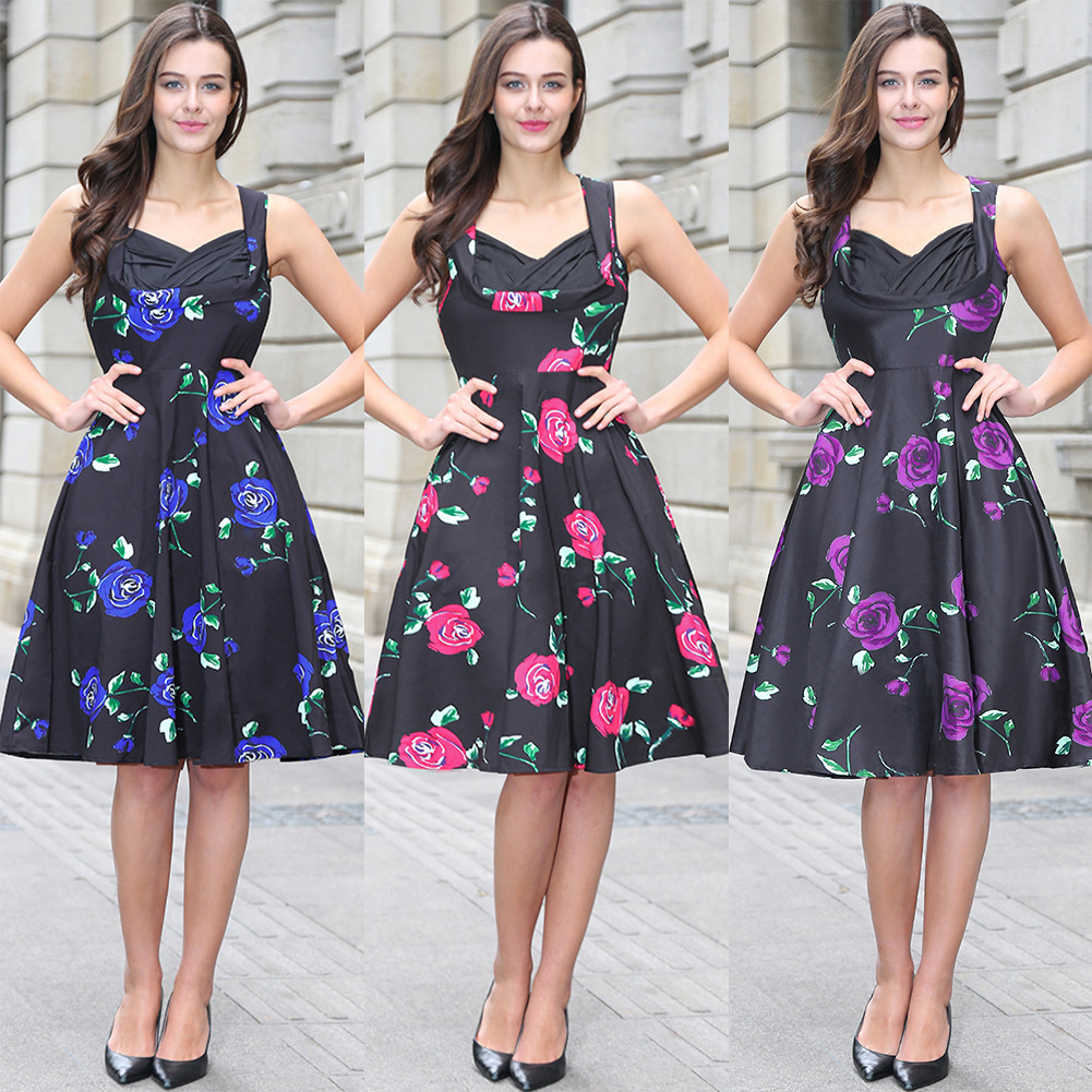 2018 Summer New Pattern Best Sellers Sleeveless Printing Dress Woman Goods In European F ...