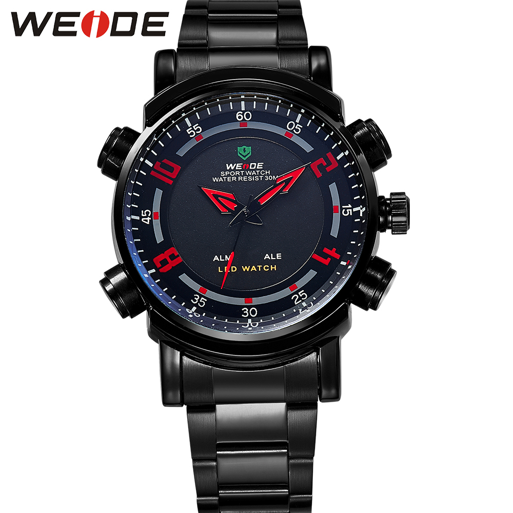 WEIDE Top Brand Black Stainless Steel Back Water Resistant Analog Quartz Watch LED Digital Alarm Dual Time Display Clocks weide high quality watch men luxury brand big dial 3atm water resistant stainless steel back lcd wristwatches with alarm items