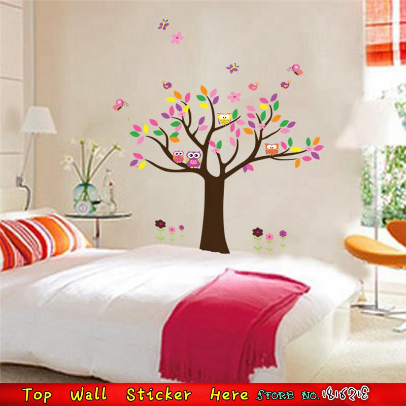 Bedroom Art Supplies: Fairy Tree Elf Wise Owls Wall Decals For Children Bedroom