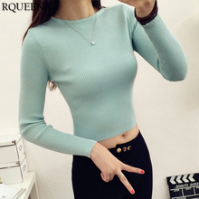 Womens Crop Sweater Top 2018 New Spring Casual Korean Sweaters Female Sexy Blue Long Sleeve Knitted Sweater Pullover Women Tops