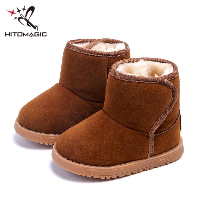 207db859e HITOMAGIC bebé niñas niños botas de nieve fieltro con piel niños zapatos de felpa  caliente Invierno 2017 Snowshoes para niños zapatos para niña Niño