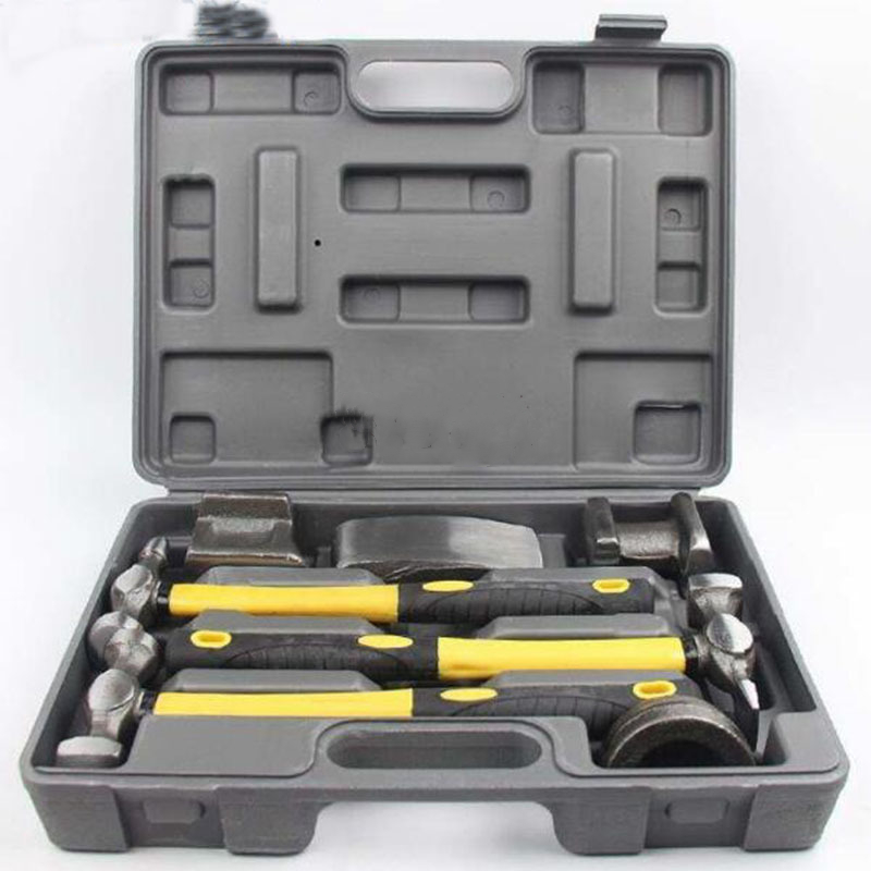 7PCS Auto Body Dent Repair Hammer Dolly Tool Kit Panel Beater Sheet With  Plastic Case